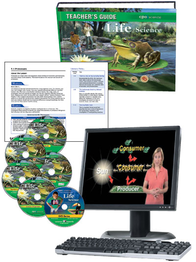 Teacher's Guide cover, sample page, and multple CD-ROMs