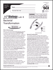 Cover to AP Biology Baterial Transformation investigation student materials